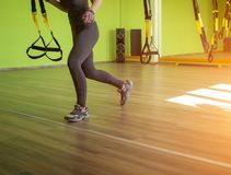 Lesson and exercise in a modern gym with TRX loops, copy space, sun, excess weight, metabolic. Lesson and exercise in a modern gym with TRX loops, copy space royalty free stock images