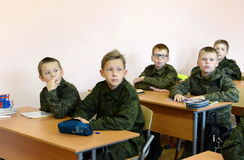 A lesson in the First Moscow cadet corps. Stock Images