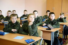 A lesson in the First Moscow cadet corps. Royalty Free Stock Photos