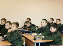 A lesson in the First Moscow cadet corps. Royalty Free Stock Photography