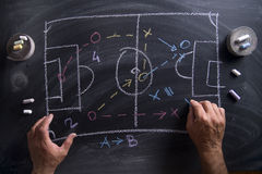 Lesson of football tactics Royalty Free Stock Image