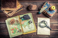 Lesson of geography, natural resources of the earth. Retro style stock photography