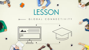 Lesson Global Connectivity Student Graphic Concept. Students Discussion Lesson Global Connectivity stock photo