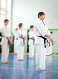 Lesson in karate school Royalty Free Stock Photography