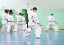 Lesson in karate school Royalty Free Stock Image