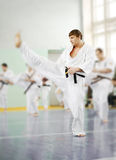 Lesson in karate school Royalty Free Stock Photos