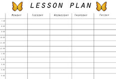 Lesson plan prototype. A prototype for a lesson plan Royalty Free Stock Images
