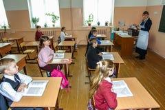 Lesson in primary school in the Kaluga region (Russia). Stock Photo