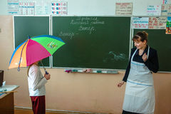 Lesson in primary school in the Kaluga region (Russia). Stock Images