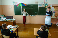 Lesson in primary school in the Kaluga region (Russia). Royalty Free Stock Image