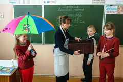 Lesson in primary school in the Kaluga region (Russia). Royalty Free Stock Photo