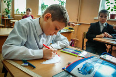 Lesson in primary school in the Kaluga region (Russia). Royalty Free Stock Images