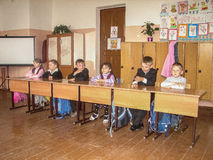 The lesson in Russian school in the Kaluga region. Royalty Free Stock Photography