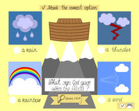 The lesson and the task for kids about the ark and the rainbow. The children s Ministry. Sunday school. Royalty Free Stock Photography