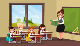 Lesson. A teacher with pupils in primary school classroom. Vecto. R illustration of a flat design Royalty Free Stock Photos