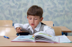 Lesson. Young Schoolboy. Royalty Free Stock Image