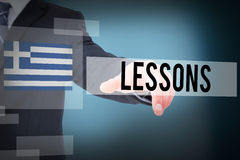 Lessons against blue background Stock Image