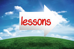 Lessons against green hill under blue sky Royalty Free Stock Photos