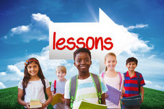 Lessons against green hill under blue sky Stock Photography