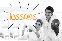 Lessons against scientists working in laboratory Royalty Free Stock Photos