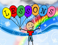 Lessons Balloons Represents Learning College And Train. Lessons Balloons Showing Childhood Kids And Develop Stock Photo