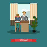 Lessons concept vector illustration in flat style. Vector illustration of father helping son to do his homework, to learn lessons. Childcare and parenting Stock Photo