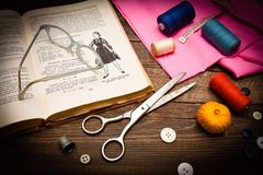 Lessons of dressmaking Stock Images