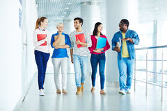 After lessons. Group of intercultural students walking down corridor after classes Stock Image