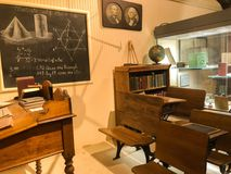 Lessons in History. Time travel to this historic classroom, located in the McHenry Modesto in Modesto California stock image