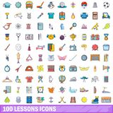 100 lessons icons set, cartoon style. 100 lessons icons set. Cartoon illustration of 100 lessons vector icons isolated on white background stock illustration