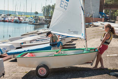 Free Lessons In Kaunas Sailing School For Children. Royalty Free Stock Images - 70684849