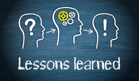 Lessons learned - Education and Knowledge Concept. On blue background Royalty Free Stock Photography