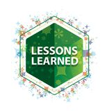 Lessons Learned floral plants pattern green hexagon button royalty free stock photos