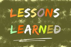 Lessons learned text  on dark green background Royalty Free Stock Images