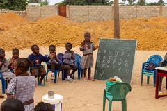 Lessons outside in Gambia stock image