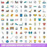 100 lessons sport icons set, cartoon style. 100 lessons sport icons set. Cartoon illustration of 100 lessons sport vector icons isolated on white background Royalty Free Stock Image
