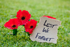 Lest We Forget - Anzac - Rememberance. Poppies with written message royalty free stock photo