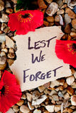 Lest We Forget - Anzac - Rememberance. Poppies with written message royalty free stock image