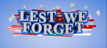 Lest We Forget. With clipping path included for easy selection Royalty Free Stock Image