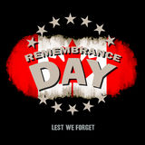 Lest we forget text memorial. Grunge canadian flag on dark background with Remembrance Day and Lest we forget text memorial vector illustration vector illustration