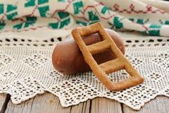 Lestvitsa, Russian rye festive spring cookie on handmade rushnik Royalty Free Stock Images