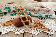 Lestvitsa, Russian rye festive spring cookie on handmade rushnik Stock Images