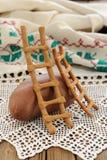 Lestvitsa, Russian rye festive spring cookie on handmade rushnik Royalty Free Stock Photo