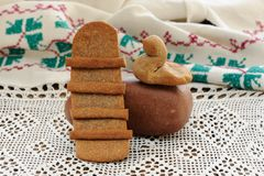 Lestvitsa and zhavoronok, Russian rye festive spring cookies on Stock Image