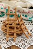 Lestvitsi, Russian rye festive spring cookies on handmade rushni Royalty Free Stock Photos