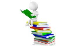 Lesung des Mannes 3d auf einem Stapel von Büchern Lizenzfreies Stockfoto