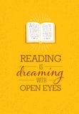 Lesung träumt mit wachsamen Augen Motivations-Zitat-Plakat mit geöffneter Buchillustration auf Rusty Background Lizenzfreies Stockfoto