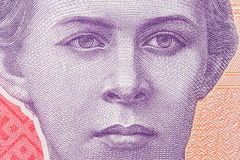 Lesya Ukrainka. Qualitative portrait from 200 hryvnia banknote Stock Photography