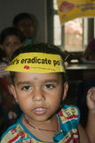 Let's eradicate polio. An Indian child is at Sunday Pulse polio centre in Kolkata, India. Pulse Polio is an immunisation campaign established by the Stock Images