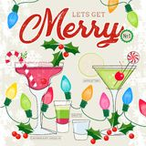 Let's Get Merry Series of Retro Style Cocktails with Holiday Decor vector illustration